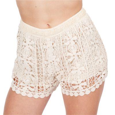 Women's crocheted shorts Wassana Tapakan Beige | UNI