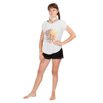 Women's t-shirt with short sleeves Darika Mandala Greyish | UNI