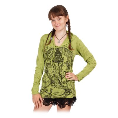 Women's hooded t-shirt Sure Angry Ganesh Green   S, M, L, XL
