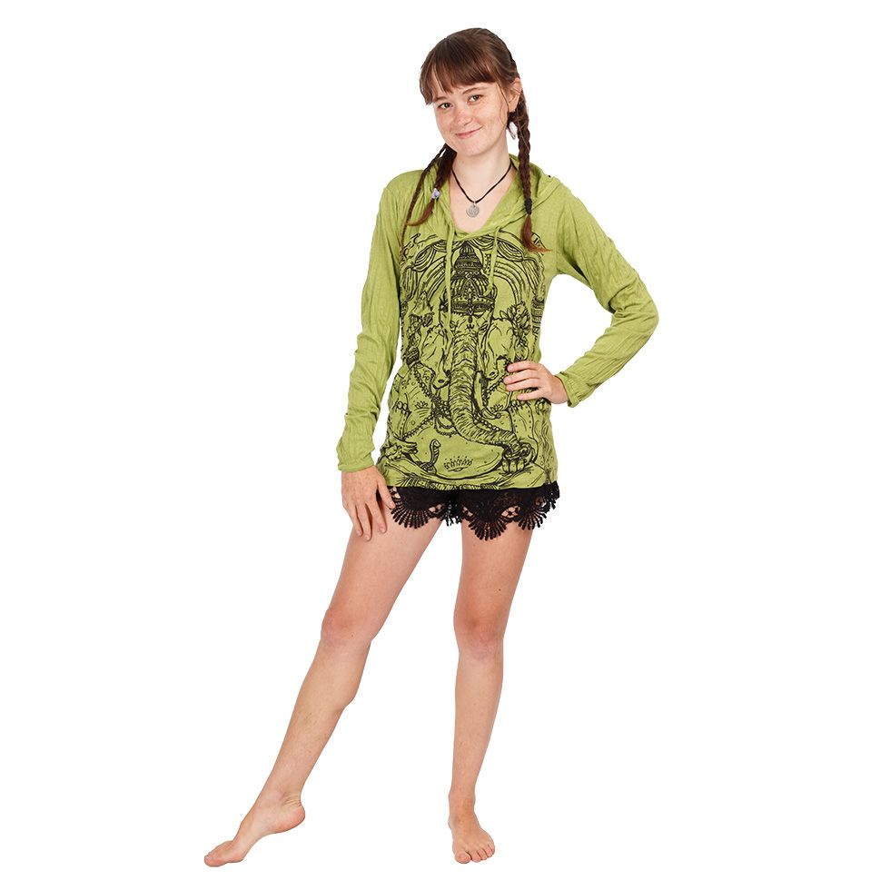 Women's hooded t-shirt Sure Angry Ganesh Green Thailand