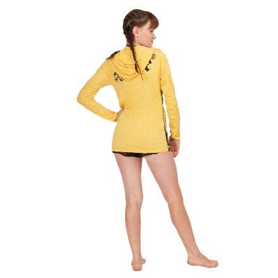 Women's hooded t-shirt Sure Buddha's Butterflies Yellow Thailand