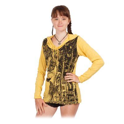 Women's hooded t-shirt Sure Buddha's Butterflies Yellow   S, M, L, XL