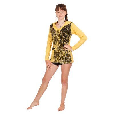 Women's hooded t-shirt Sure Buddha's Butterflies Yellow | S, M, L, XL