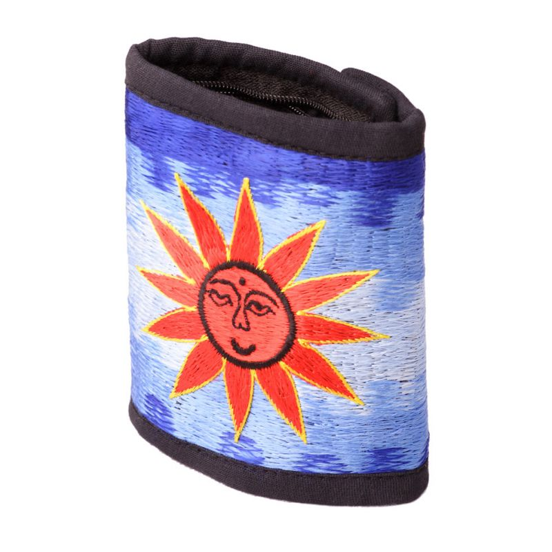 Embroidered wallet Sun