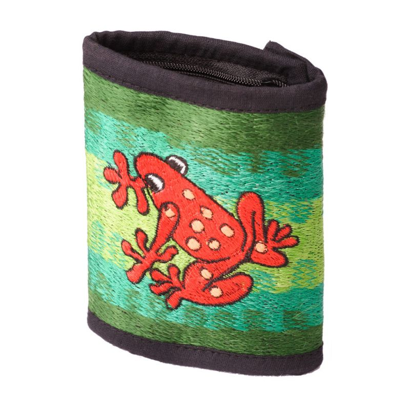 Embroidered wallet Frog