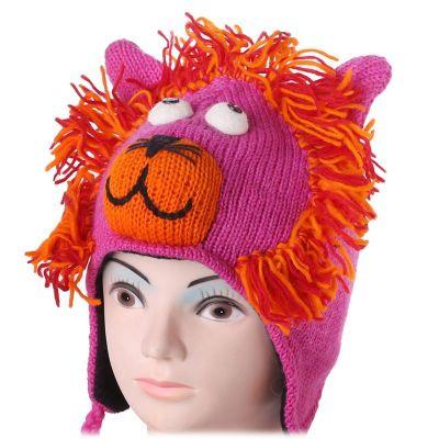 Woolen Hat Pink lion