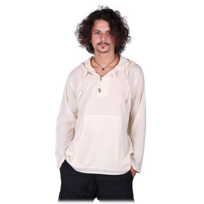 Kurta Ganet Putih - men's long-sleeved shirt Nepal