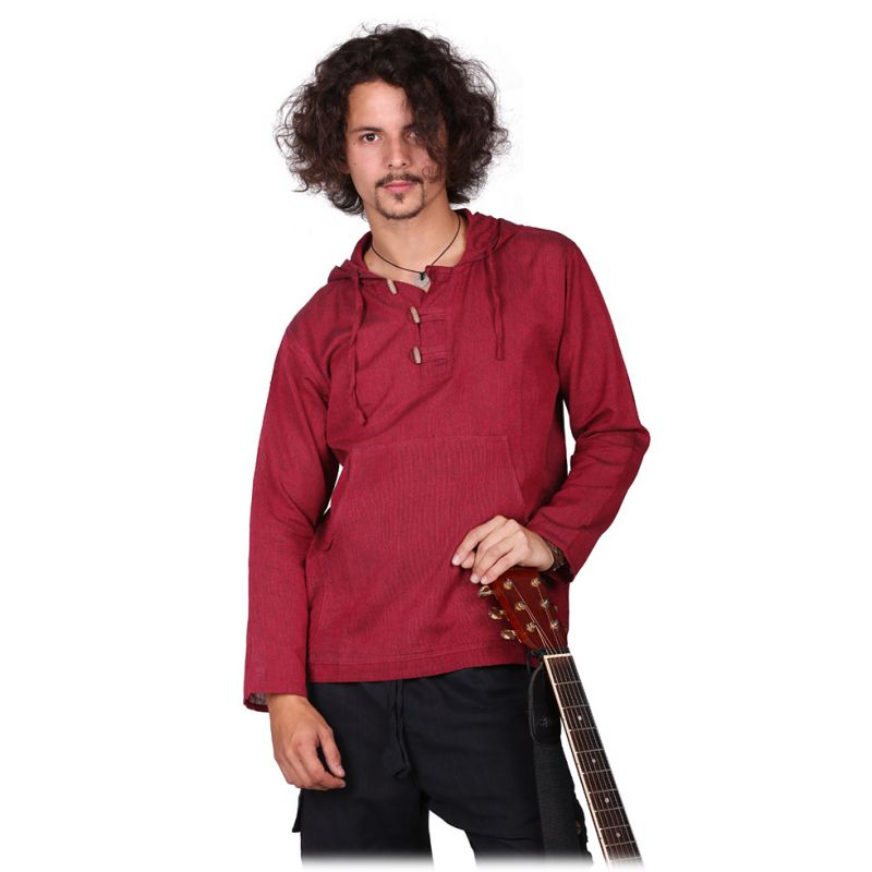 Kurta Ganet Merun - men's long-sleeved shirt Nepal