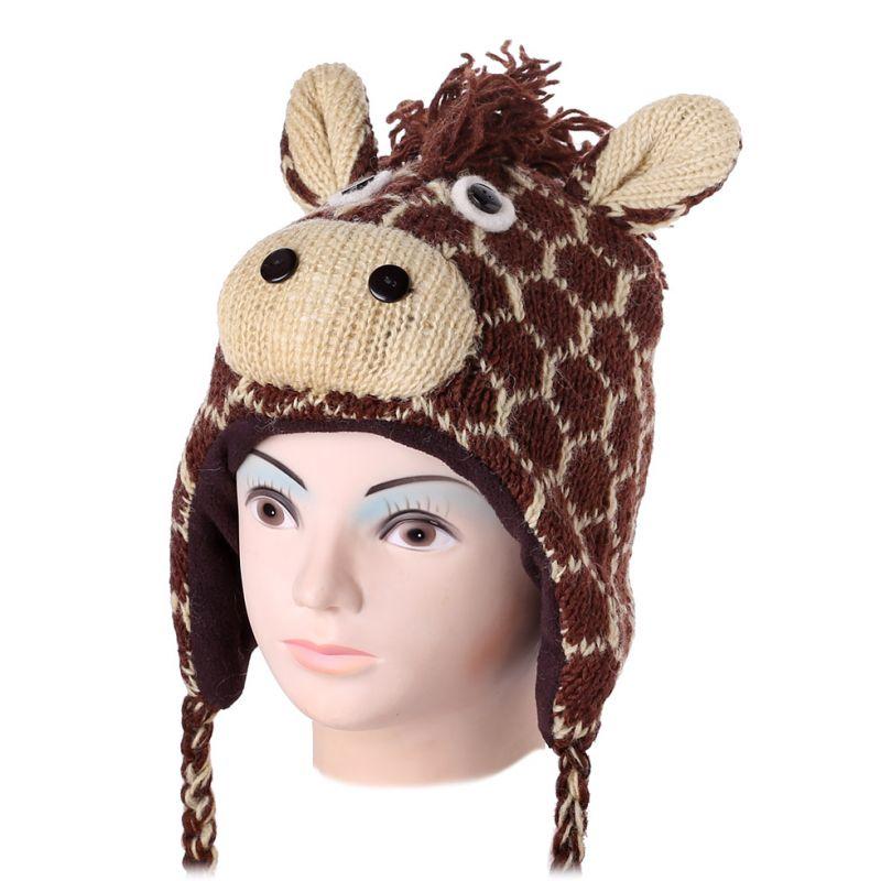 Woolen Hat Brown giraffe