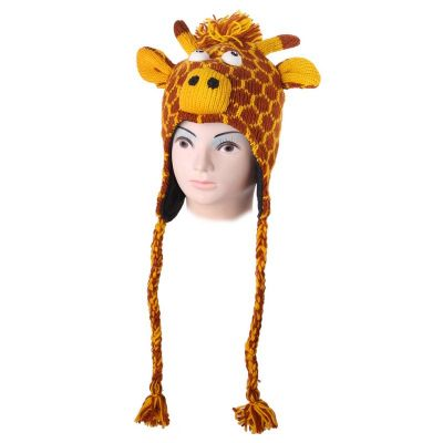 Woolen Hat Orange giraffe