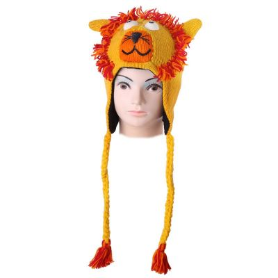Woolen hat Yellow lion