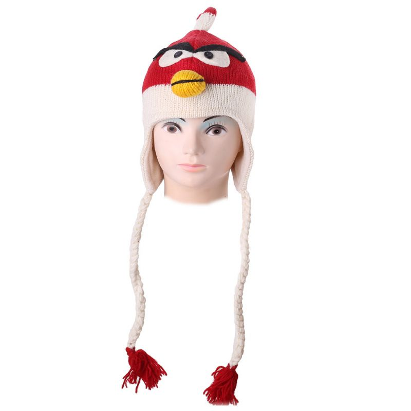 Woolen hat Angry Bird - red