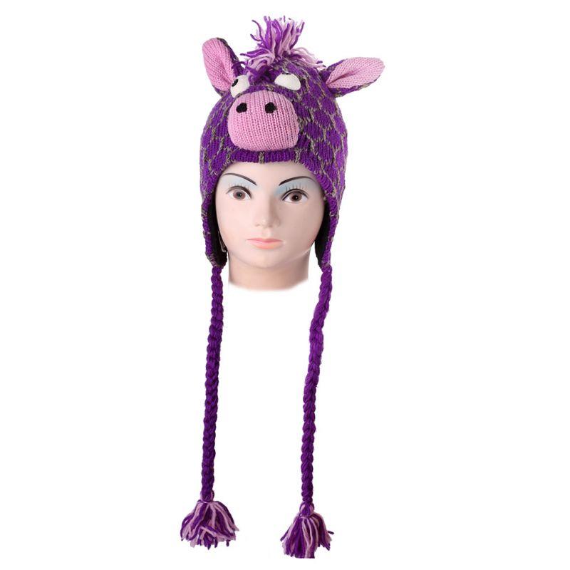Woolen Hat Purple giraffe