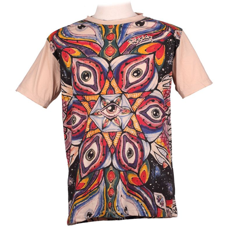 Mirror t-shirt Eye Mandala Beige