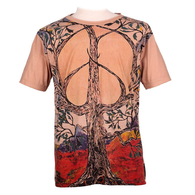 Mirror t-shirt Tree of Peace Brown