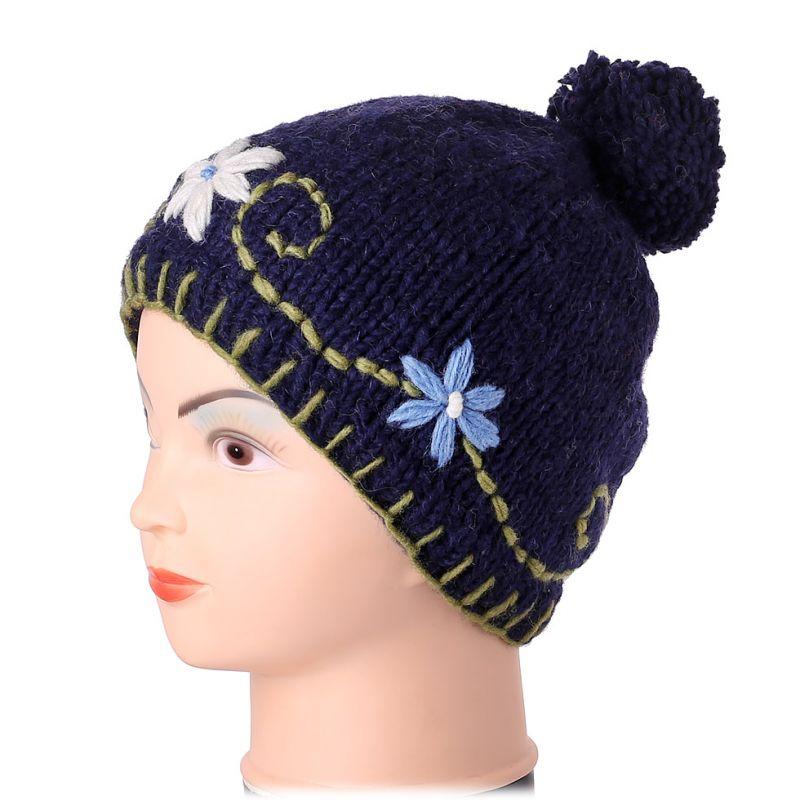 Woolen hat Bunga Biru