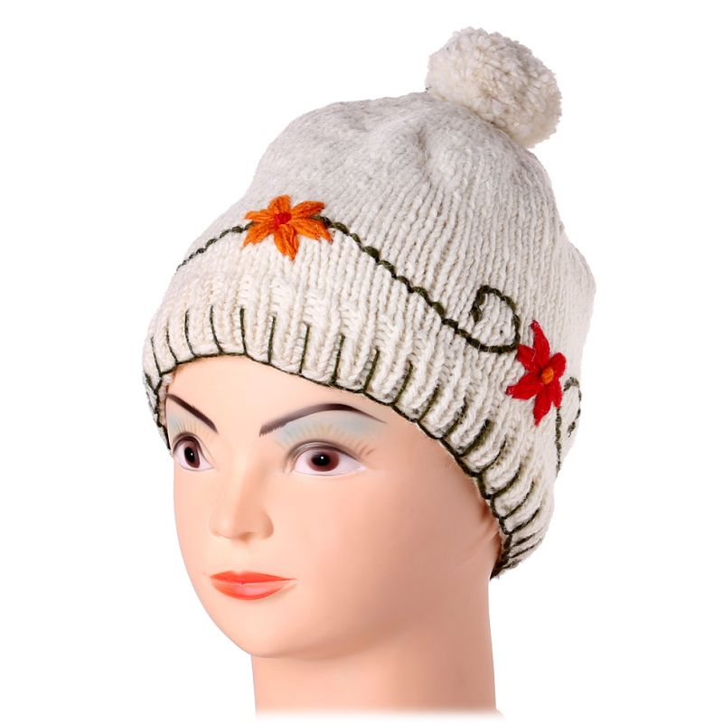 Woolen hat Bunga Putih