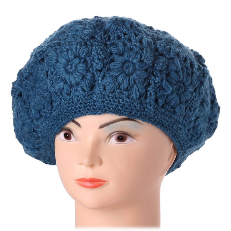 Crocheted beret Laras Blue