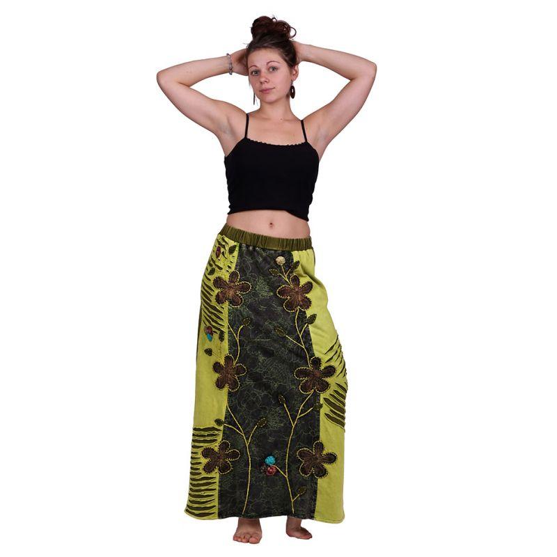 Long embroidered ethno skirt Surga Hijau