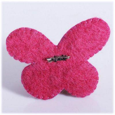 Felt brooch Butterfly Pink