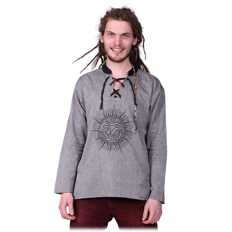 Kurta Matahari Kelabu - men's long-sleeved shirt Nepal