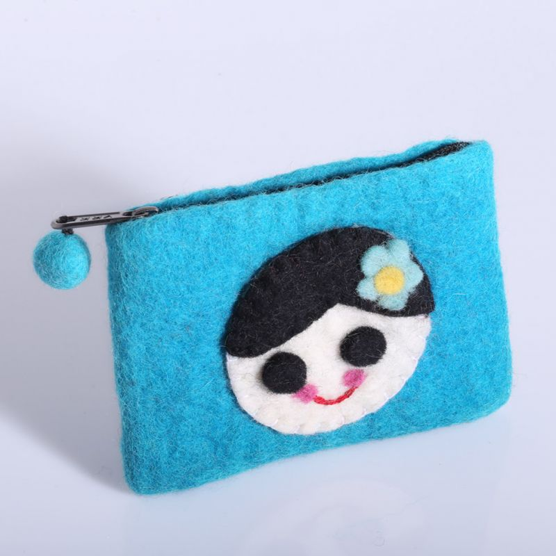 Little felt purse with a girl motive Turquoise