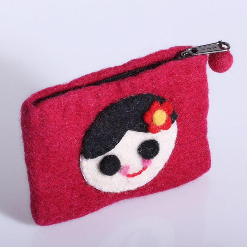 Little felt purse with a girl motive Burgundy
