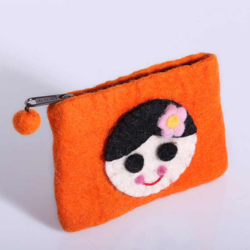 Little felt purse with a girl motive Orange