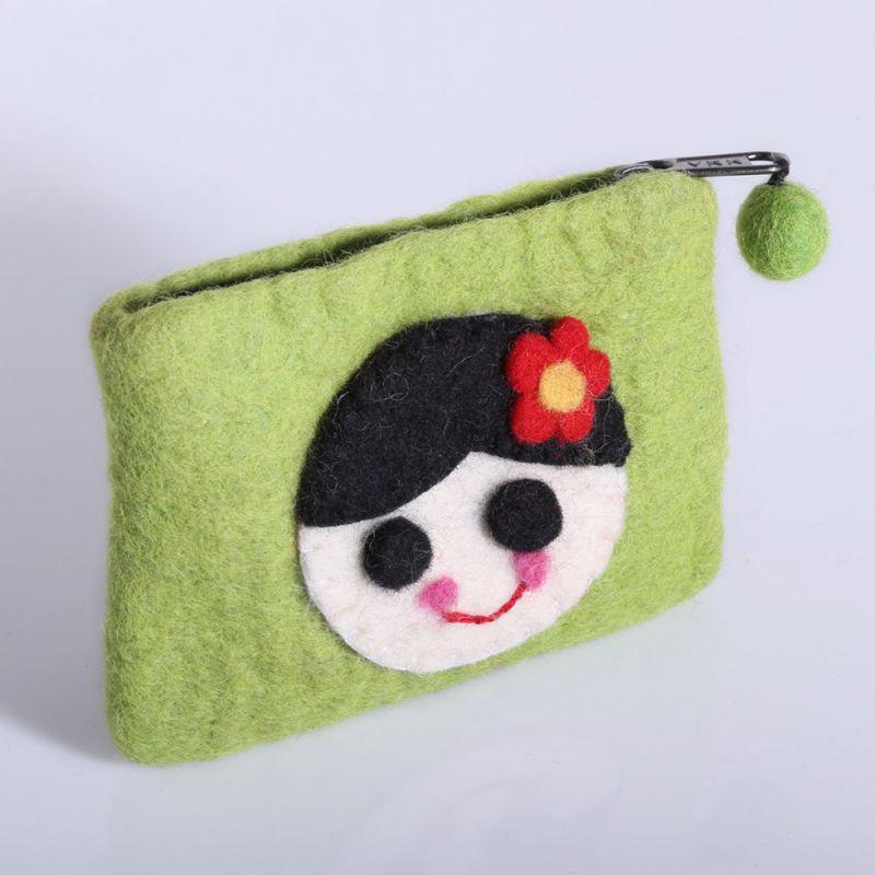 Little felt purse with a girl motive Green