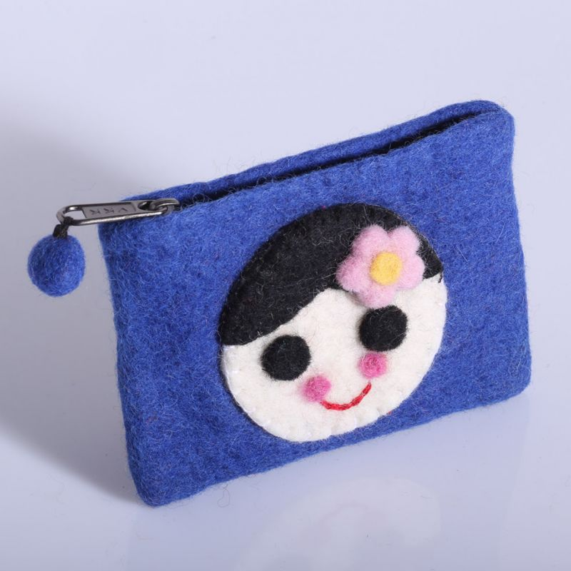 Little felt purse with a girl motive Blue