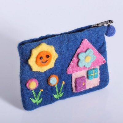 Little purse with a house motive Blue