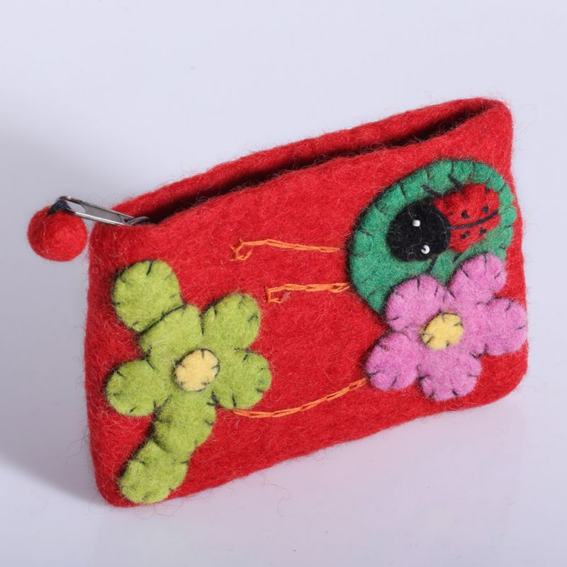 Little felt purse with a ladybug and flowers