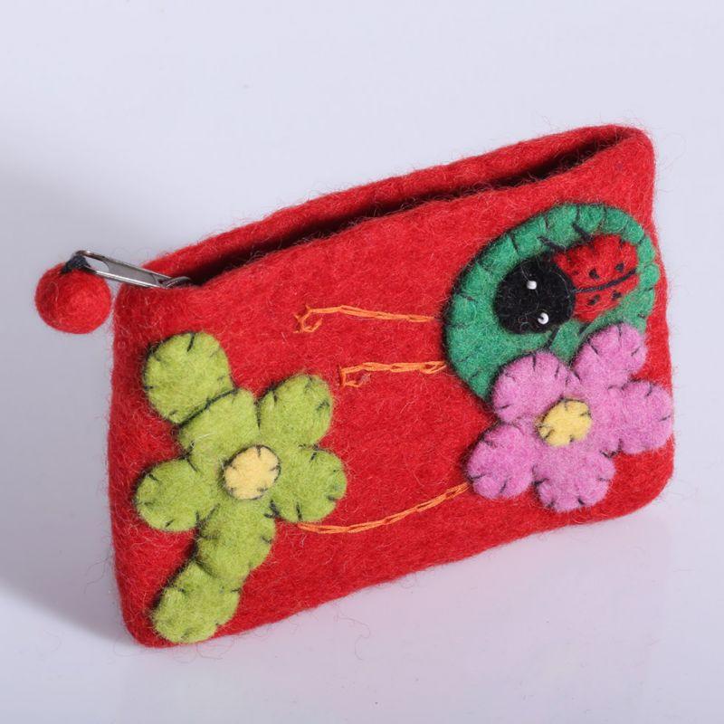 Little felt purse with a ladybug and flowers