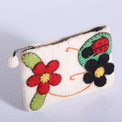 Little purse with a ladybug White