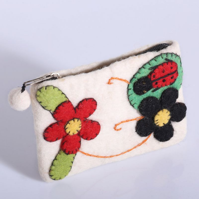 Little felt purse with a ladybug and flowers White