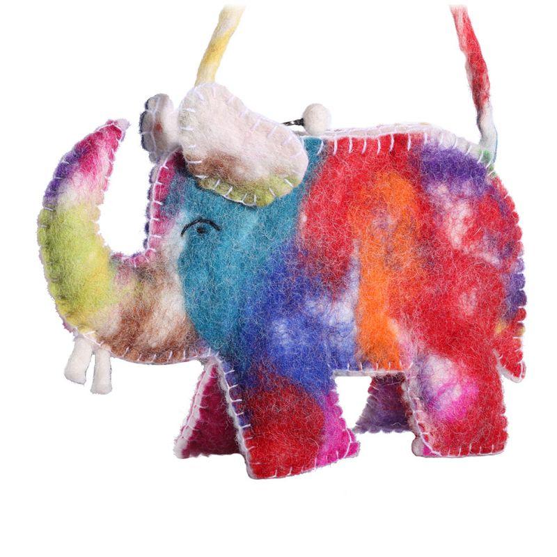 Felt handbag Colourful Elephant