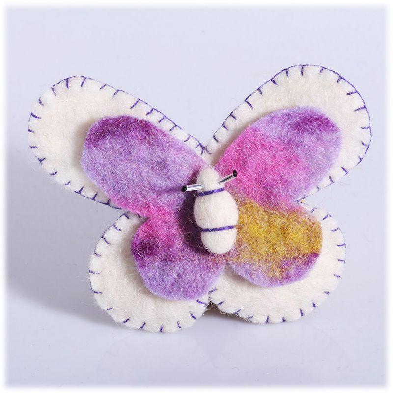 Felt brooch Butterfly White