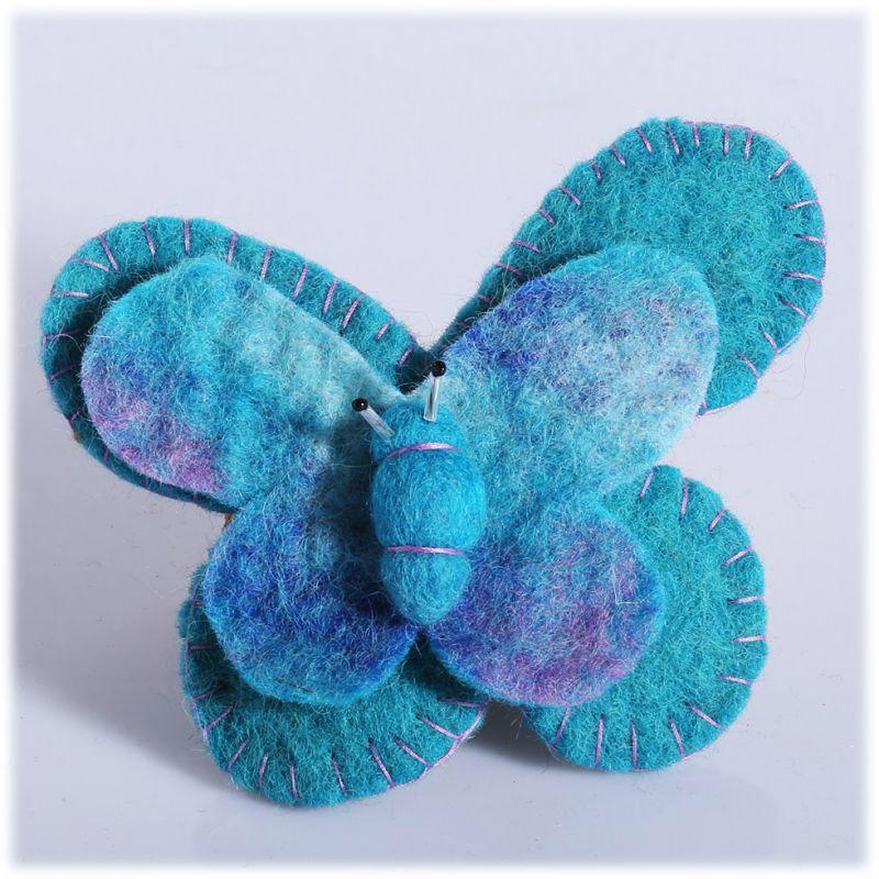 Felt brooch Butterfly Turquoise