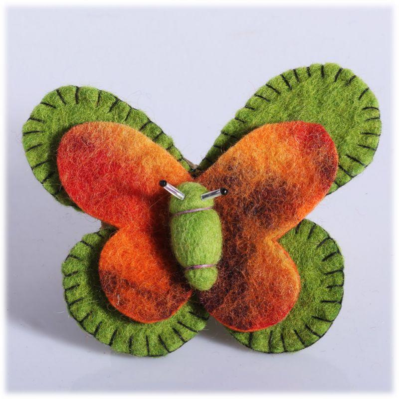 Felt brooch Butterfly Green-orange