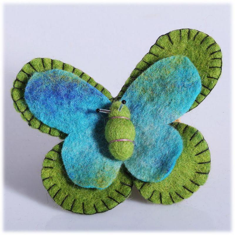 Felt brooch Butterfly Green-turquoise