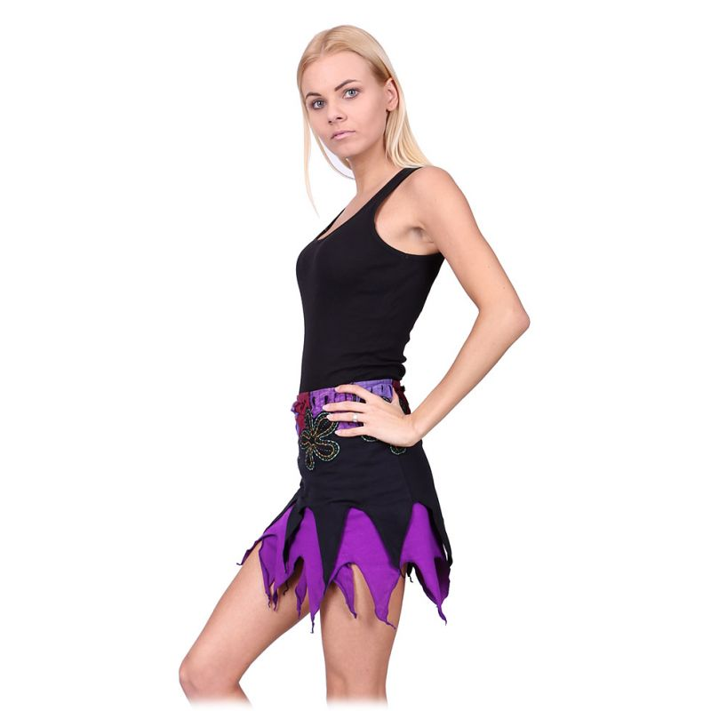 Pointed wraparound mini skirt Gila Witch Nepal
