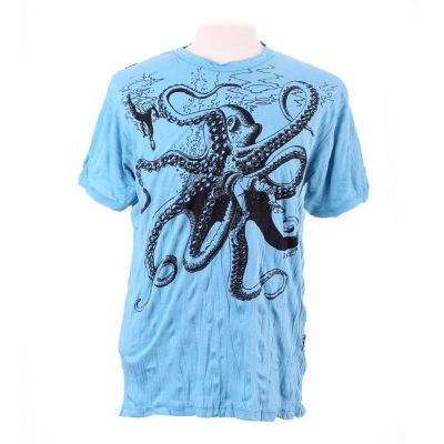 T-shirt Octopus Attack Turquoise