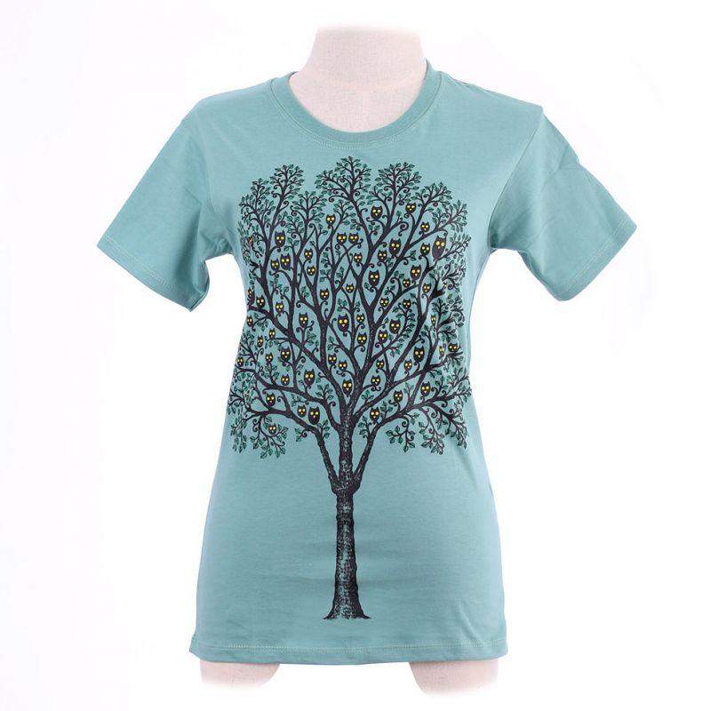 Women's t-shirt Owl Tree Green