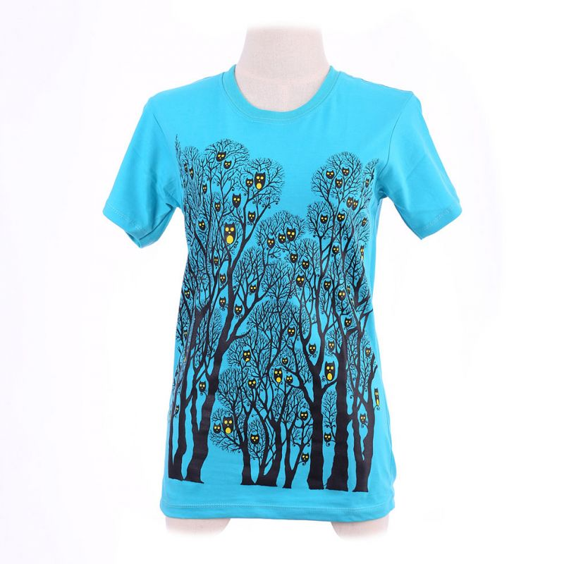 Women's t-shirt Owl Forest Turquoise
