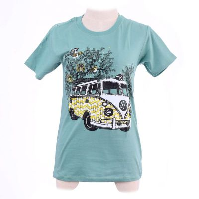 T-shirt Hippies Bus Green