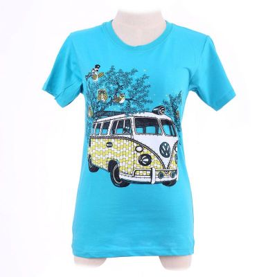 T-shirt Hippies Bus Turquoise