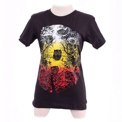 T-shirt Owl Sunset Black