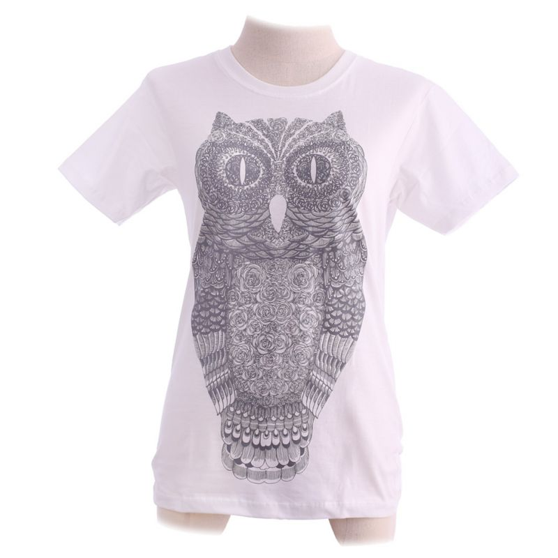 Women's t-shirt Big Owl White