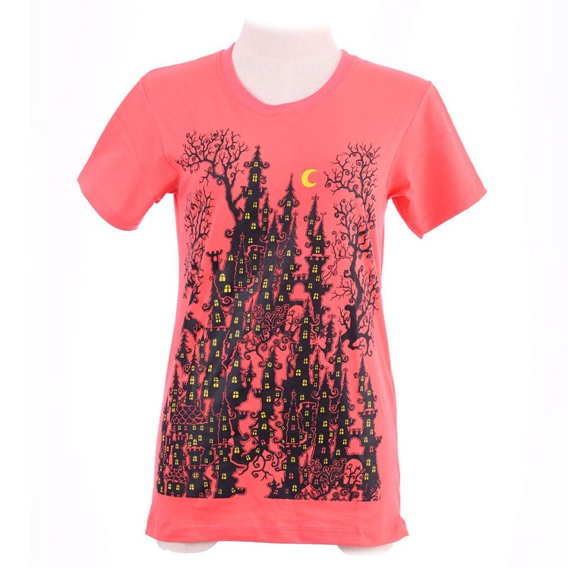 Women's t-shirt Haunted Castle Pink