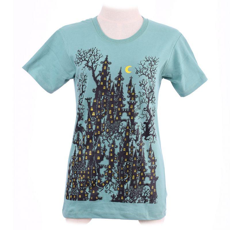 Women's t-shirt Haunted Castle Green